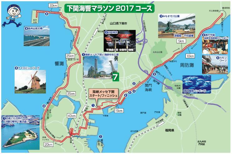 下関海響マラソン2017 コースマップ