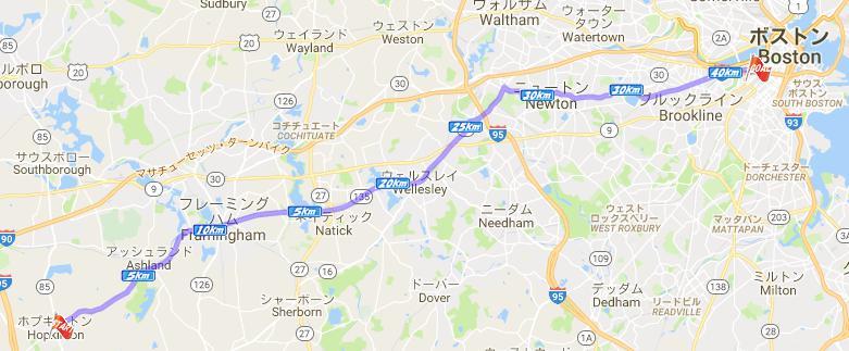 ボストンマラソン コースマップ