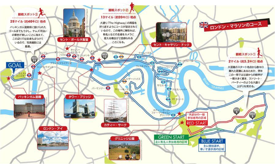 ロンドンマラソン コースマップ