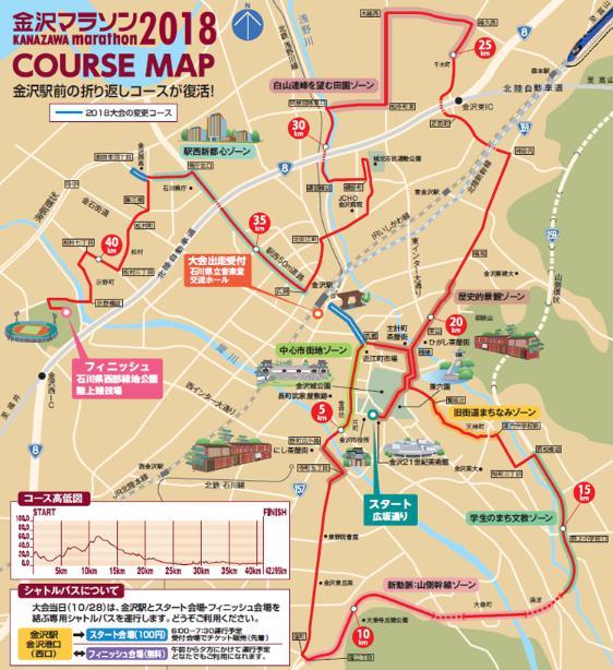 金沢マラソン2018 コース