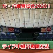 セ・パ練習試合2020 ライブ中継 無料動画 視聴方法 見逃し配信 試合日程